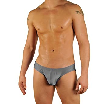 Mens Solid Charcoal Contour Pouch Bikini Swimsuit By Gary Majdell Sport Size Small