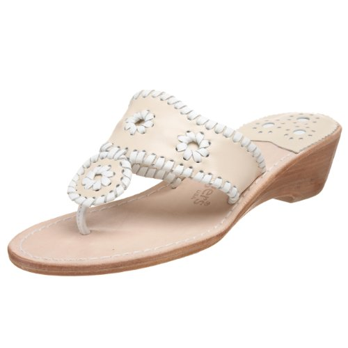 Jack Rogers Women's Palm Beach Midwedge Sandal,Bone/White,9.5 M