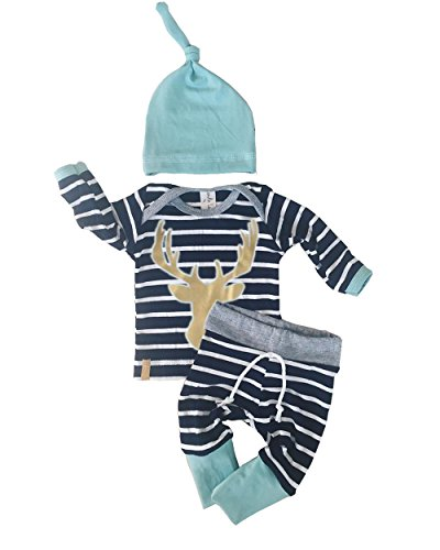 3pcs/Set Newborn Baby Boy Girl Striped Long Sleeve Deer Tops Pants + Hat Outfits