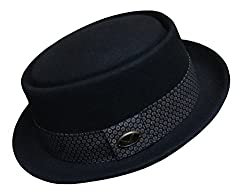 Differenttouch Robert Patterned Band Flat Top Porkpie Hat W/feather DT35 (M)