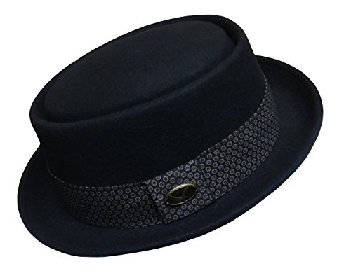 Differenttouch Men's 100% Wool Felt 53EH Round Top Pork Pie Short Brim Upturn Fedora Hats (M) (Men Pork Pie Hat compare prices)