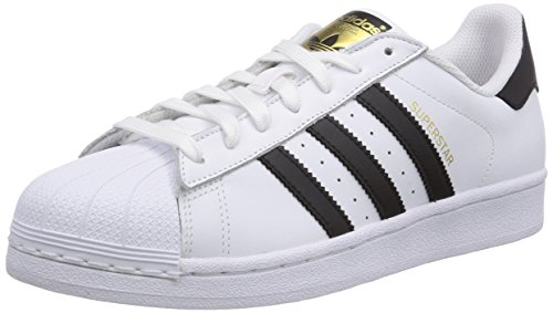 adidas Superstar Sneakers, Uomo, Mutlicolore (White-Black Stripe-White Sole), 44