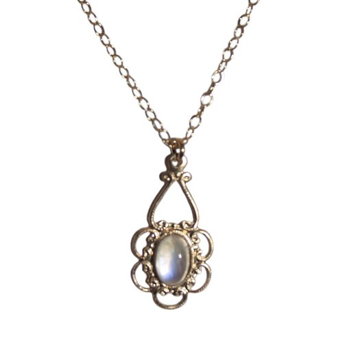 Childrens' Necklace Filigree Rainbow Moonstone 14K Yellow Gold Fill Adjustable Length