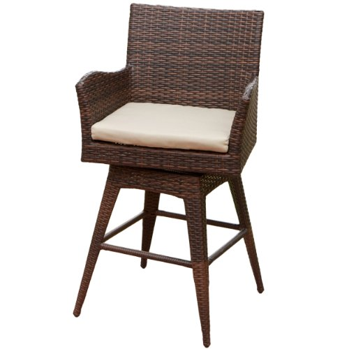 Best Selling Home Decor Lewin Outdoor Wicker Swivel Bar Stool image