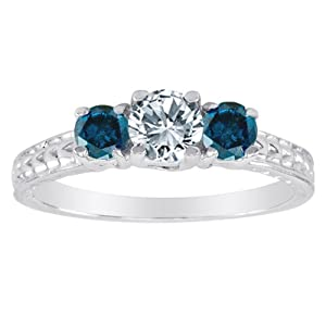 Platinum 3 Stone Diamond and Blue Diamond Accented Engagement Ring With Cobra Design Shank (1 cttw)