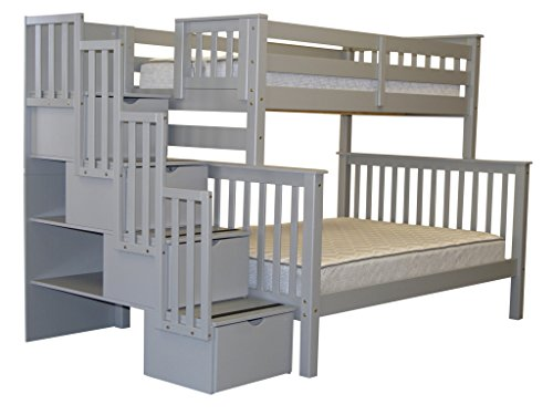Bedz King Bunk Beds, Twin over Full with Stairway, Gray