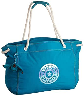 Kipling Beach Tote, Cabas mode femme  - Turquoise (599 Nature Blue)