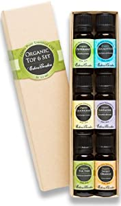 Organic Top 6 100% Pure Essential Oil Gift Set- 6/10 ml (Eucalyptus, Lavender, Lemongrass, Orange, Peppermint, Tea Tree)