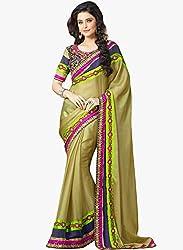 Shreenath Creation Women's Silk Saree(Beige)
