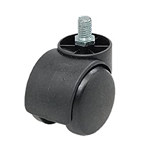 Threaded stem connector twin wheel black chair for 3 furniture casters
