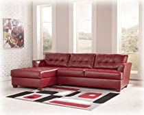 Hot Sale Left Facing Red Leather Sectional and Ottoman by Ashley Furniture
