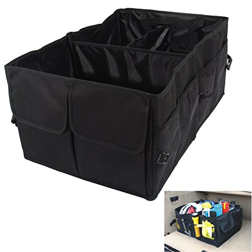 WawaAuto Oxford Fabric Multipurpose Auto Car SUV Organizer Folding Collapsible,Folding Car Trunk Organizer,Foldable Cargo Storage Container Box Bag Case, Great for Travel Vocation Trip Camping