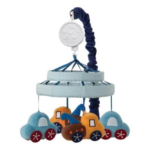 Light And Dark Blue Car W/ Red Wheels & Tow Truck Musical Baby Boy Crib Mobile front-939706