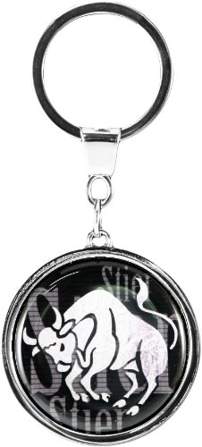 "Quality and shiny keychain in a round shape ""Star sign Taurus"""