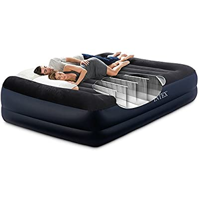"""Intex Dura-Beam Series Pillow Rest Raised Airbed with Fiber-Tech Construction and Built-In Pump, Queen, Bed Height 16.5"""""""
