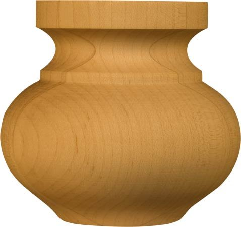 Medium Squat Round Bun Foot in Knotty Pine - Dimensions: 3 x 3 3/16 inches (Unfinished Wood Bun Feet compare prices)
