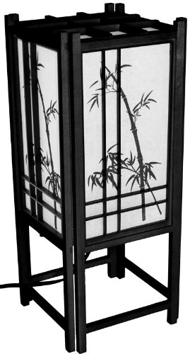 Oriental Furniture Best Inexpensive Affordable Useful Gift, 18-Inch Bamboo Art Electric Japanese Lantern Table Lamp, Black