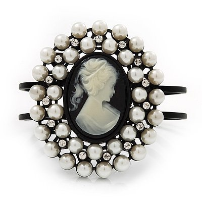 Large Pearl 'Classic Cameo' Hinged Bangle Bracelet In Black Metal - up to 18cm wrist