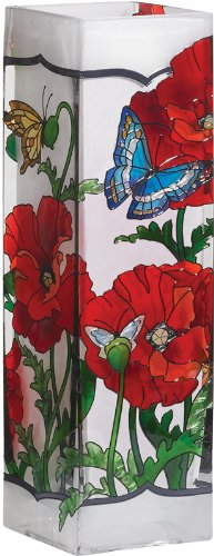412oAKK9ZuL Joan Baker Designs VAS1013 3 Inch by 3 Inch by 10 Inch Poppy Garden Art Glass Vase