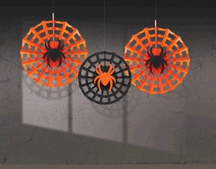 Shindigz Halloween Spider Web With Spiders Fan Decorations front-576076