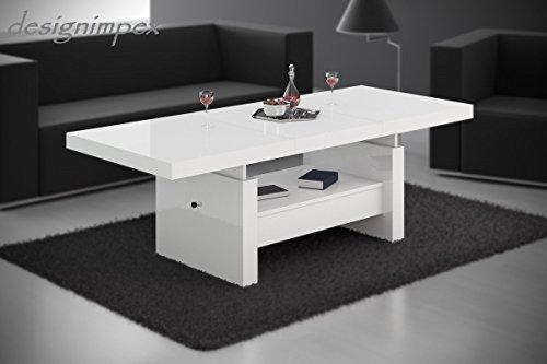 Design-Couchtisch-H-111-Wei-Hochglanz-Schublade-hhenverstellbar-ausziehbar-Tisch-Wohnzimmertisch