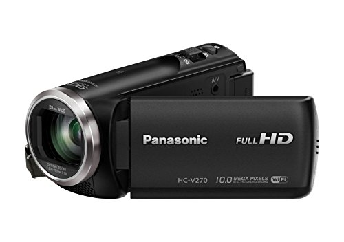 "Panasonic HC-V270EG-K Videocamera Full HD, Wi-Fi con NFC, Intelligent Zoom 90x, sensore BSI 1/5.8"", stabilizzatore 5 Axis, Nero"