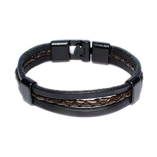 AUTHENTIC HANDMADE Leather Bracelet, Men Women Wristbands Braided Bangle Craft Multi [SKU003071] (Studded Wristband Single)