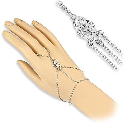 bungsa® mano catena argento con anello Vintage Ornament per donna (Bracciale dita dita catena mano gioielli Slave Flash catena)