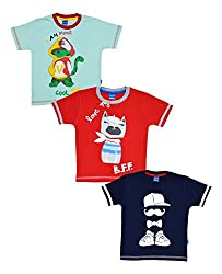 MYFAA Baby Boys' Cotton T-Shirts, Combo of 3 (BOY3P-789-18-24M, Multi-Coloured, 18-24 Months)
