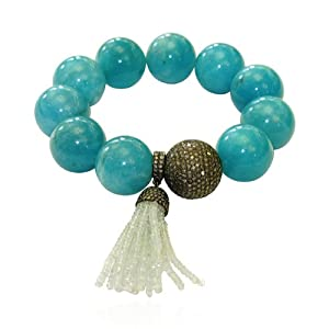 Natural Amazonite Beaded Cord Bracelet Sterling Silver Jewelry