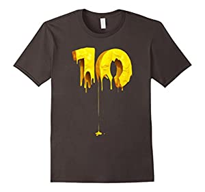 Men's Paint 10 T shirt, Funny Ten , Golden TEE Large Asphalt