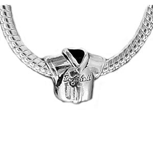 EvesErose(TM) Silver SOFTBALL JERSEY Bead Sterling Disney Charm Fits Pandora & Similar Bracelets