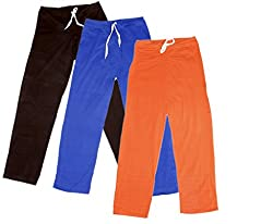 Indistar Women's Stretchable Premium Cotton Lower/Track Pant(Pack of 3)_Brown::Brown::Blue::Orange_Free Size
