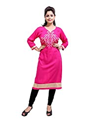Beautiful Pink Kurti Cotton Embroidered Leaves Medium For Womens By Rajrang