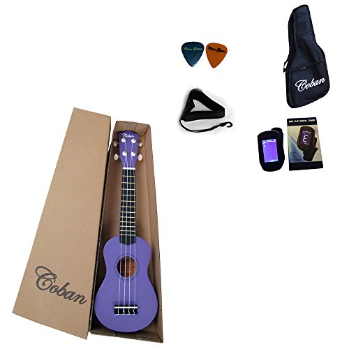 coban-soprano-ukulele-in-4-great-colours-dark-blue-purple-black-and-light-blue-includes-10mm-padded-