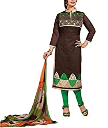 Rudra house Women's chanderi cotton unstitched dress material(PKR-1004 Brown and green free size)