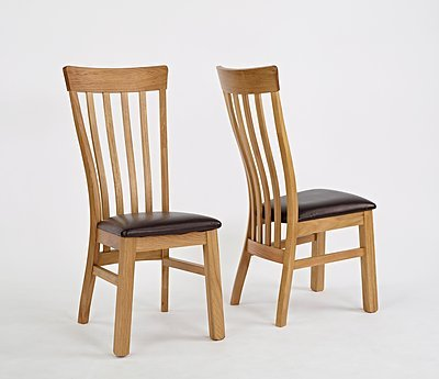 Normandy Oak Chair (PU Seat) By OnlineDiscountStore