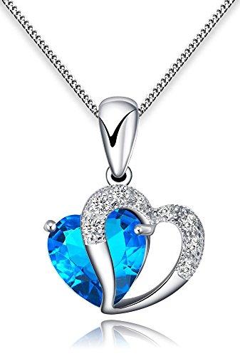 FLORAY Donna o Ragazza cuore collana del pendente.Cristallo Blu. Catene in argento Sterling.Bella Scatola Gioielli Blu.