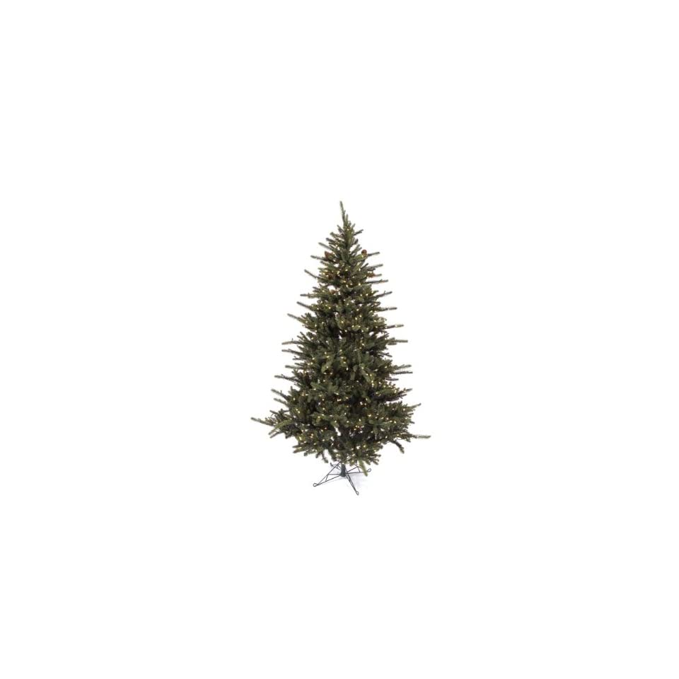 7.5 Pre Lit Mixed Pine Artificial Christmas Tree With Pinecones   Clear Lights