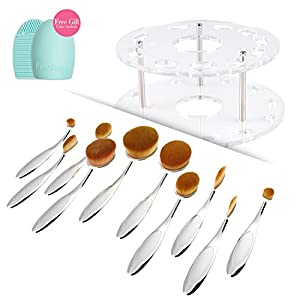 Docolor 10pc Oval Makeup Brush Set with Brush holder Cosmetic Storage Organizer and Cleaner Tool (Silvery with Holder)