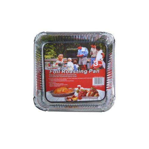 16 Square disposable foil roasting pans; pack of 3