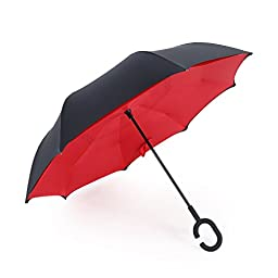 Inverted Umbrella, SimplyWorks Windproof Reverse Double Layer, Self Standing Inside Out Umbrella with C-shaped Hands Free Handle for Car In Rain Protection (Red, Black)