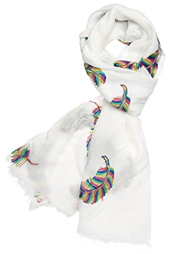 Womens-Premium-Collection-Sheer-Soft-Embroidered-Cotton-Scarf-FeatherWhite