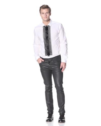 Just Cavalli Men's Striped Bib Shirt  [White]