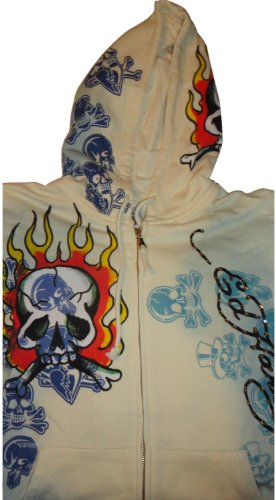 Men's Ed Hardy Hoodie Hooded Sweat Jacket Flaming Skull Age Lime/Off White (Large)