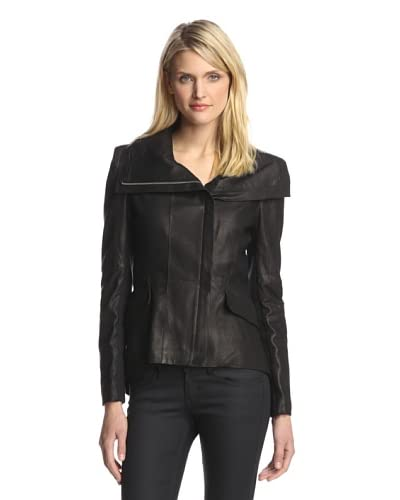 Dawn Levy Women's Shelbi High-Low Leather Jacket  [Pewter]