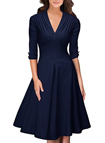 OWIN Women's Retro Deep-V Neck Half Sleeve Vintage Casual Swing Dress Party Dress ,Navy Blue ,Medium