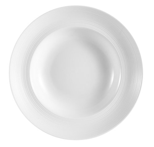 CAC China HMY-130 12-Inch Harmony Porcelain Pasta Bowl, 26-Ounce, White, Box of 12