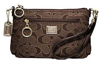 Coach Poppy Signature Capacity Wristlet Wallet Clutch Bag 46121 Brown