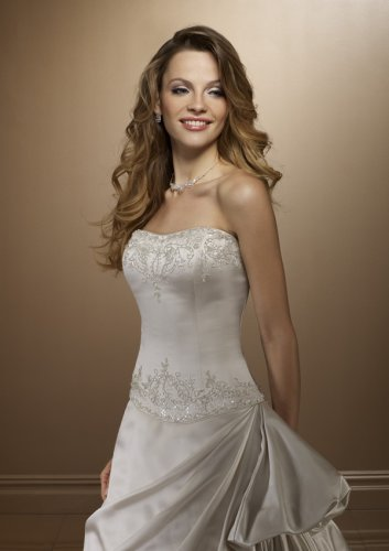 White Satin Wedding Gown with Pick-Ups